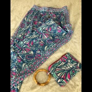 Lily Pulitzer beach pants and matching clutch bag
